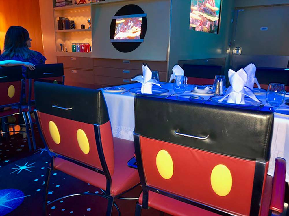 Disney Fantasy Anamator's Palate Restaurant with Mickey chairs