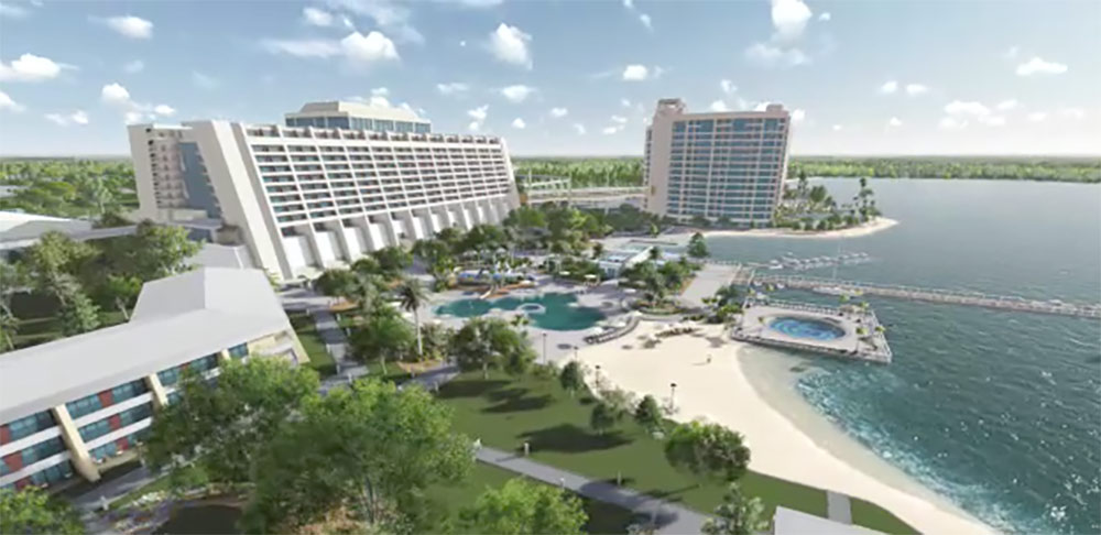 Disney's Contemporary Resort Exterior with beach and ocean