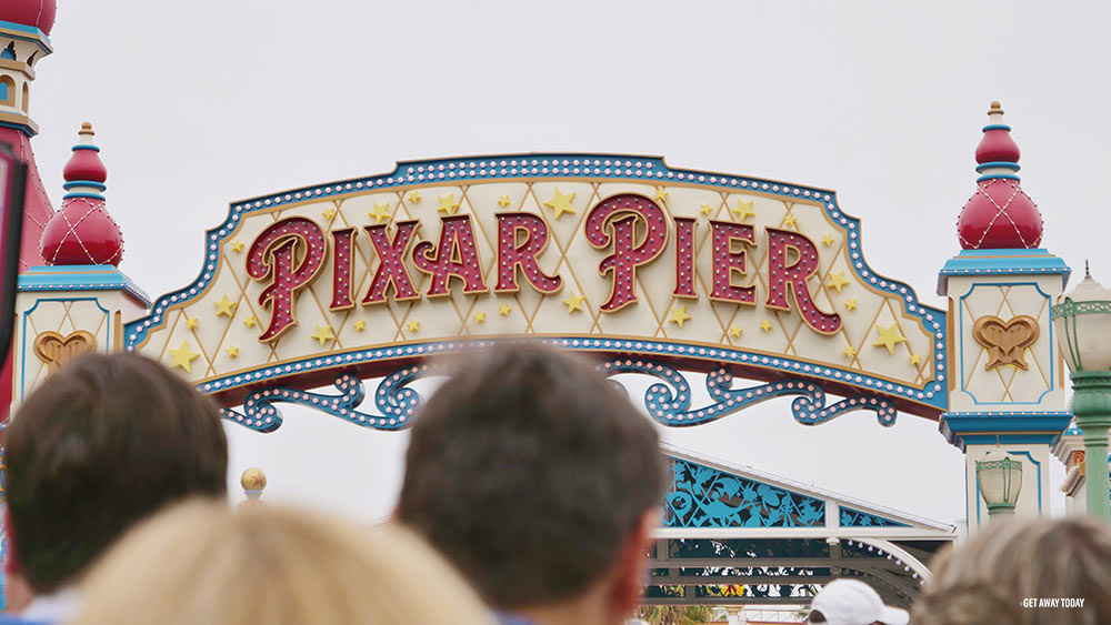 Pixar Pier Sign and crowd
