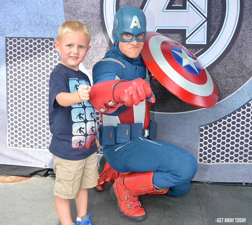 Captain America and toddler at Disneyland