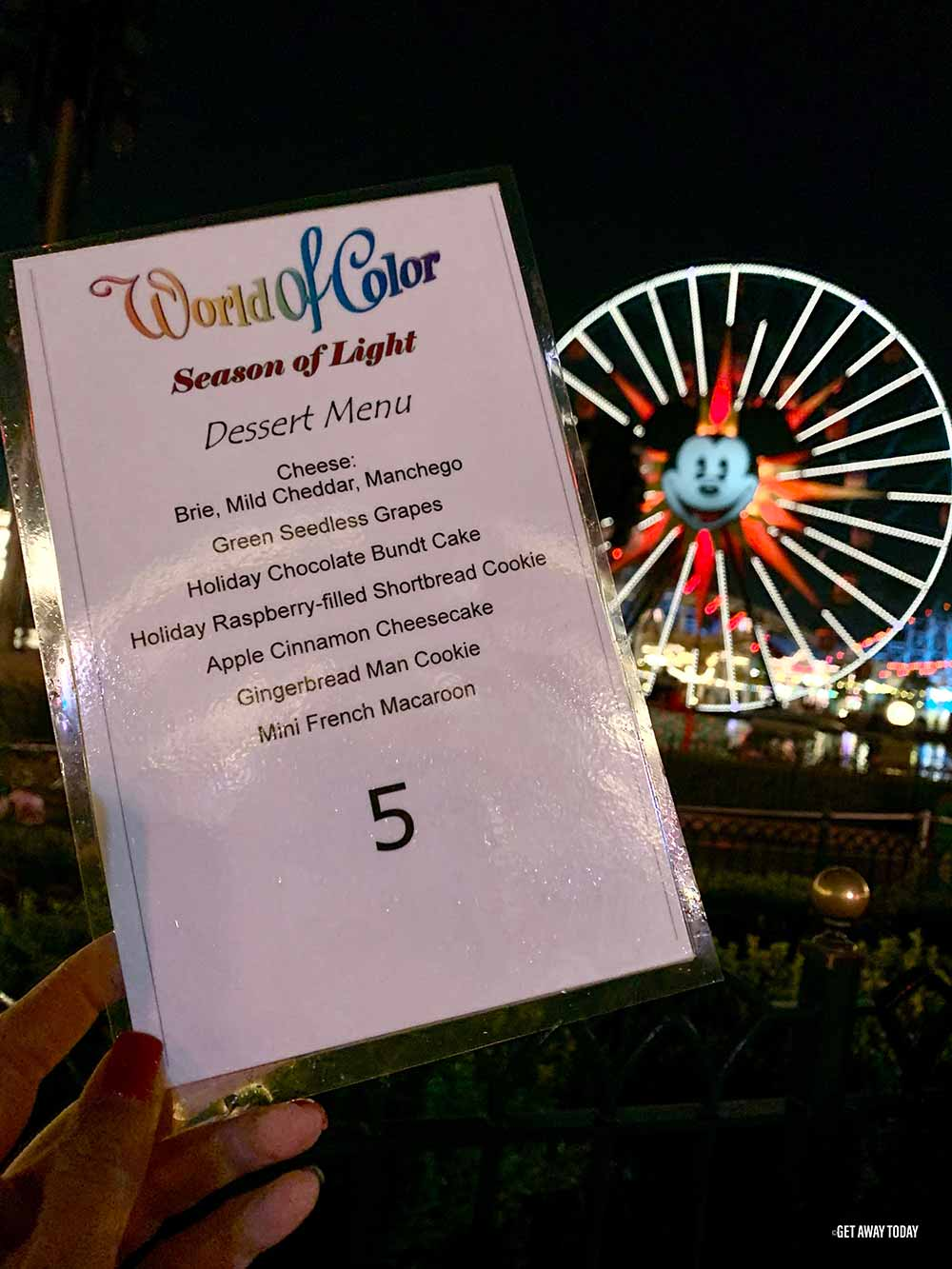 World of Color Dessert Party Menu and Wheel