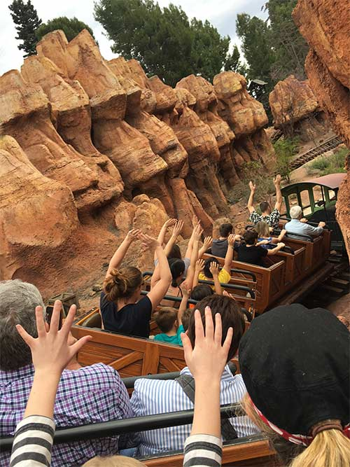 Big Thunder Mountain Railroad Secrets Riders with Hand Up