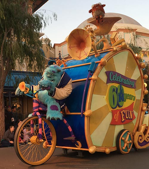 Paradise Pier in California Adventure Pixar Play Parade