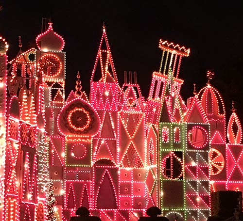 its a small world at Disneyland Holiday Lights