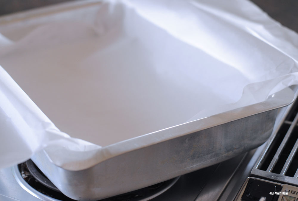 Parchment paper in pan