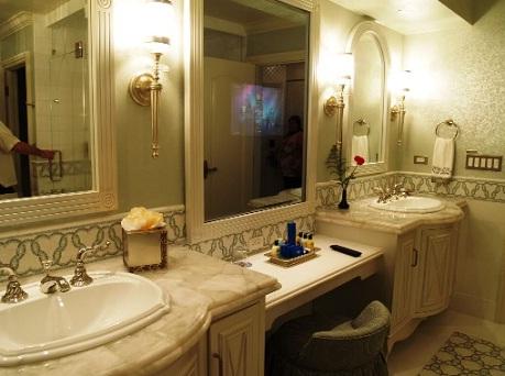 white bathroom vanity with