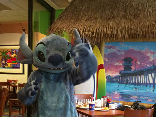 Disney's Paradise Pier Hotel Stitch at Surf's Up Breakfast