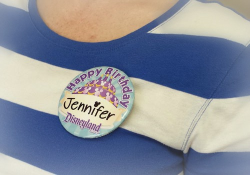 Button to celebrate your birthday at Disneyland