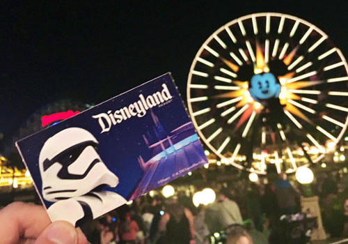 Stormtrooper ticket in front of World of Color