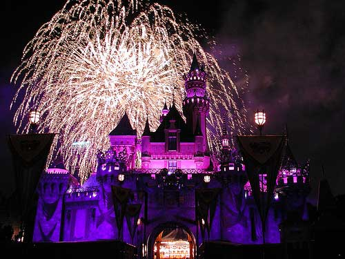 Cinderella's castle is framed by fireworks at Disneyland