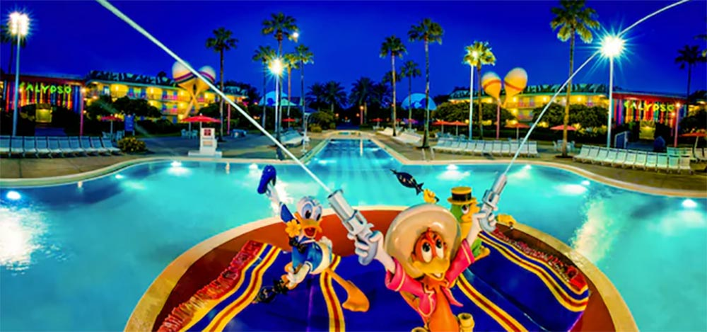 Disneys All Star Music Resort Pool with little character figures shooting water out like a fountain