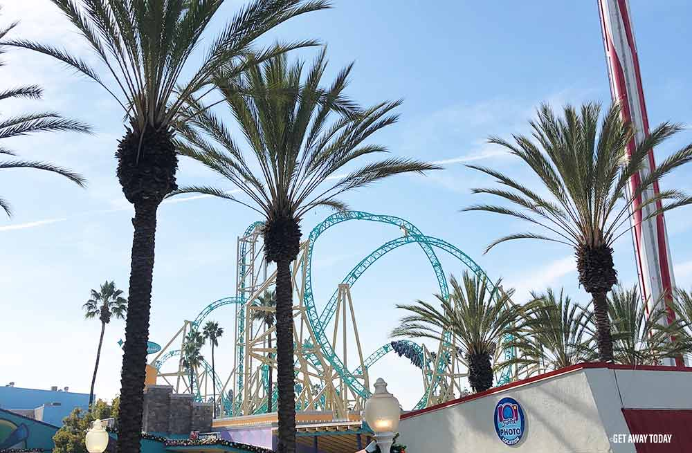 Knott's Berry Farm palm trees and coaster