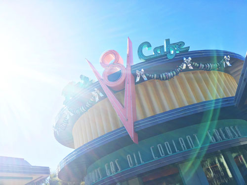 Flo's V8 Cafe with holiday decorations