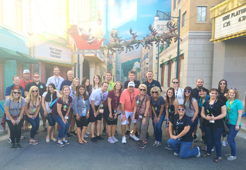Group at Disney California Adventure Park with Reindeer