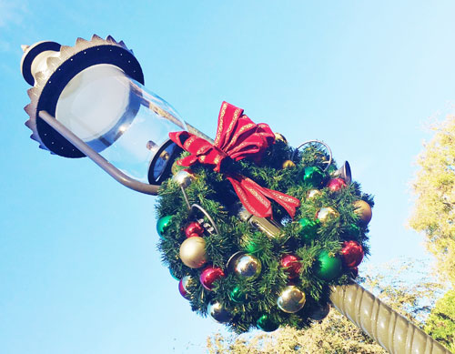 Holiday wreath at Disneyland