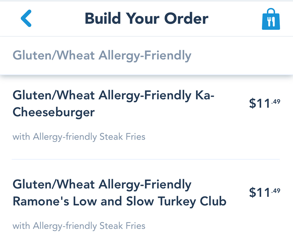Mobile Ordering at Disneyland Gluten Free