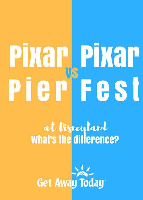 Pixar Pier vs Pixar Fest at Disneyland Pin Image || Get Away Today