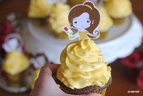 Belle Cupcakes with Free Printable Topper
