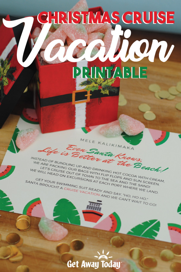 Christmas Cruise Vacation Printable || Get Away Today
