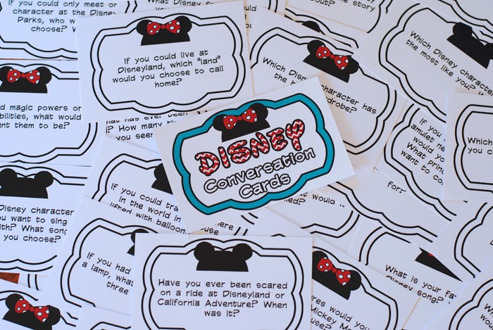 Got a road trip coming up? Then print these free Disney conversation cards as part of your plan to keep the kids entertained on the drive! Get all the info at www.orsoshesays.com.