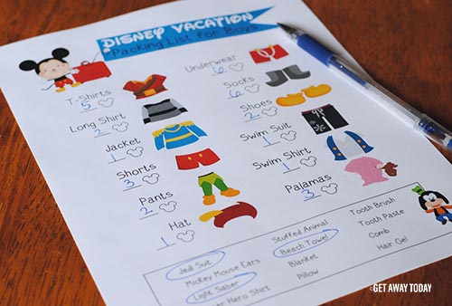 Disney Packing List Mickey