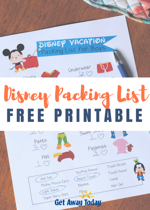 picture regarding Free Printable Disney Tickets identify Absolutely free Disney Packing Checklist Printables