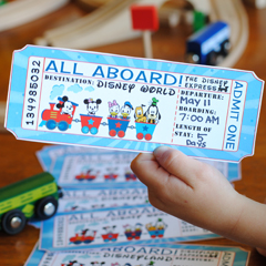 Disney Railroad Ticket Vacation Surprise