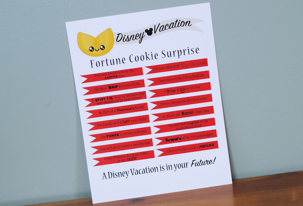 Disney Vacation Surprise Fortune Cookie Print Out
