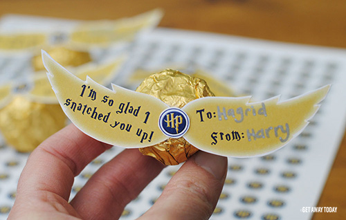 image regarding Golden Snitch Printable identified as Do-it-yourself Harry Potter Valentine with Free of charge Printables