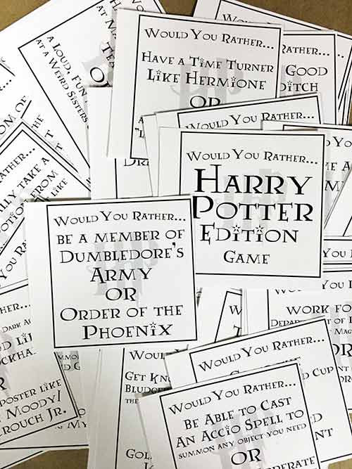 graphic about Would You Rather Printable named Harry Potter Would Oneself Alternatively Sport