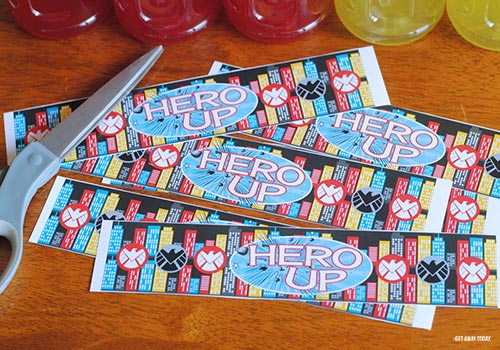 Printable Super Hero Drink Labels Cut