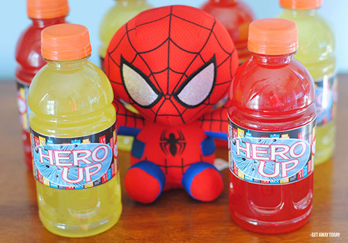 Printable Super Hero Drink Labels Finish