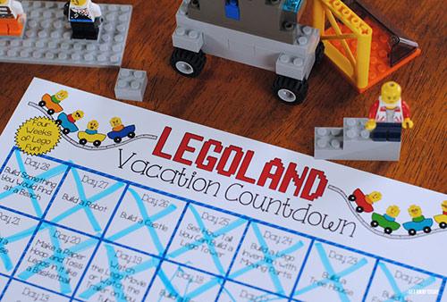 graphic regarding Vacation Countdown Calendar Printable titled LEGOLAND Countdown Calendar Printable