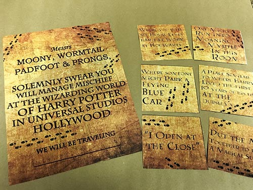 Harry Potter Marauders Map Vacation Surprise for Universal Studios