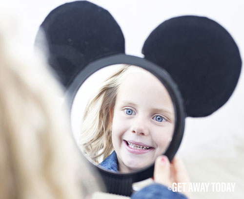 Disneyland Vacation Surprise Girl Looking in Mirror
