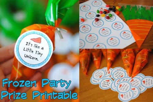 frozen party prize printable