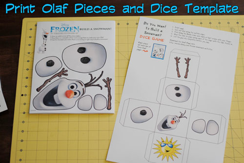 Olaf printable template then print the olaf dice