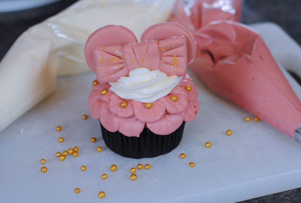 Make Your Own Rose Gold Minnie Ears Cupcakes