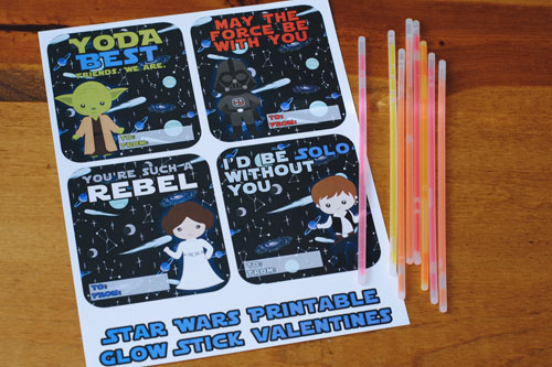 picture about Glow Stick Valentines Printable known as No cost Printable Star Wars Valentines