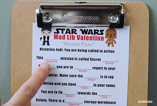 Printable Star Wars Valentines Mad Libs