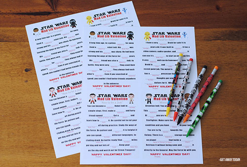 Printable Star Wars Valentines Mad Libs Printed