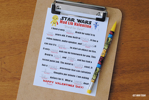 Printable Star Wars Valentines Mad Libs Words