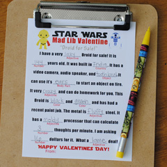 Free Star Wars Mad Lib Valentine Template