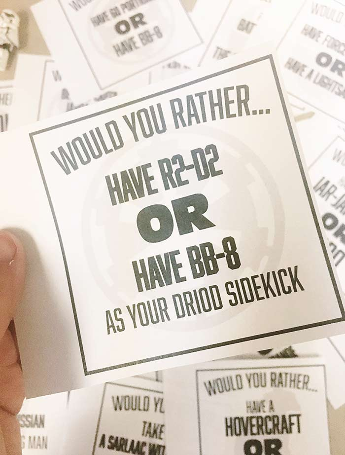 image relating to Would You Rather Printable known as Would By yourself In its place Recreation - Star Wars Version Cost-free Printable