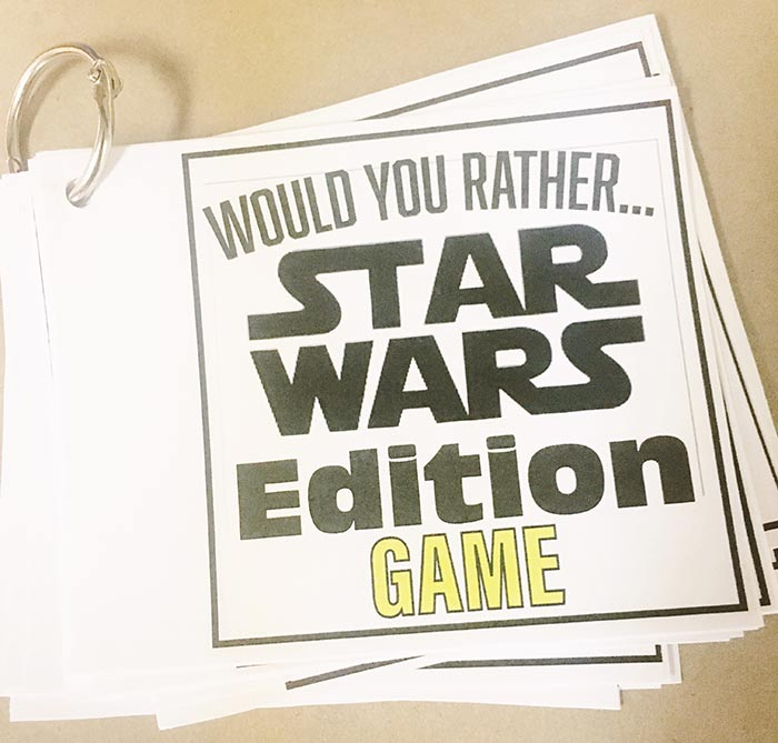 photograph regarding Would You Rather Printable known as Would On your own As a substitute Video game - Star Wars Variation Free of charge Printable