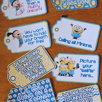 Minion Vacation Announcement Gift Tags for Universal Studios Hollywood